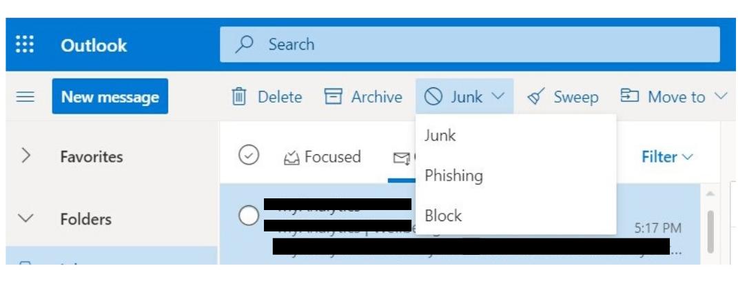 report phishing button