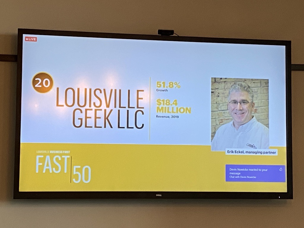 Louisville Geek #20 on Louisville Business First Fast 50