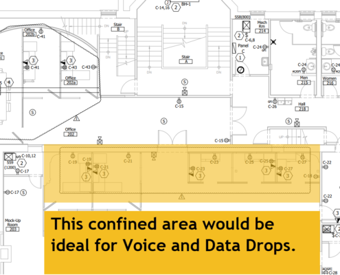 Voice and data drops in new construction